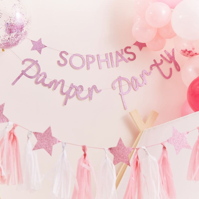 Pink Glitter Pamper Party Bunting 11932