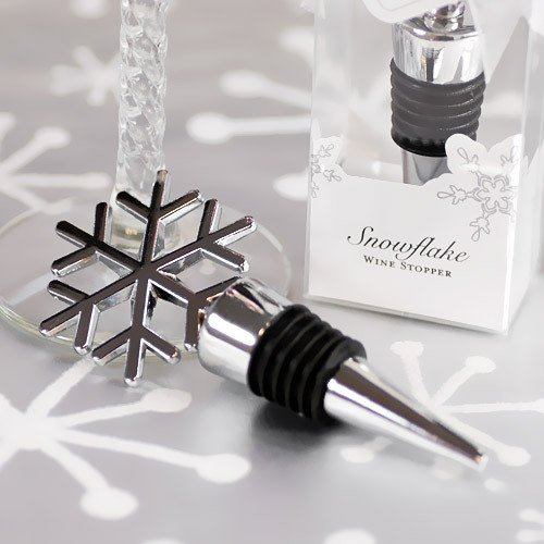 Silver Snowflake Wine Stopper Favor 1308