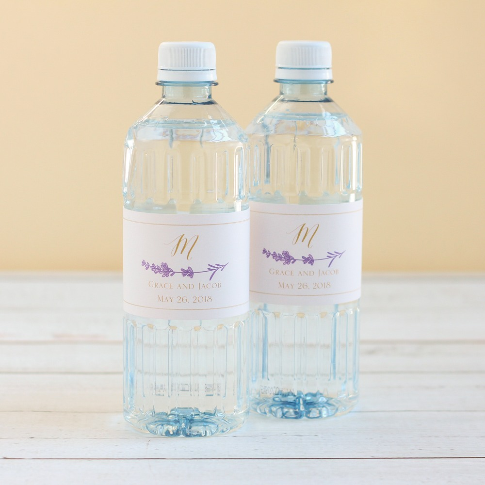 Personalized Lavender Sprig Wedding Water Bottle