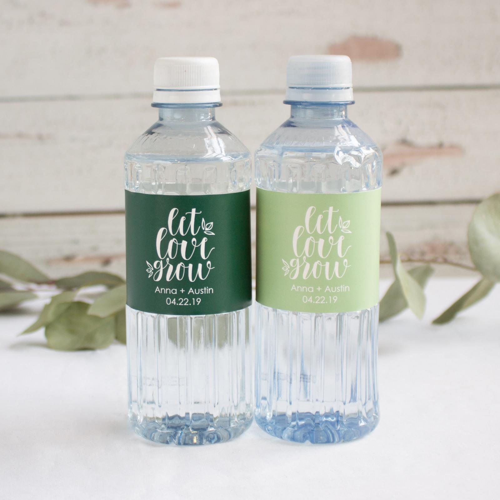 Personalized Let Love Grow Wedding Water Bottle