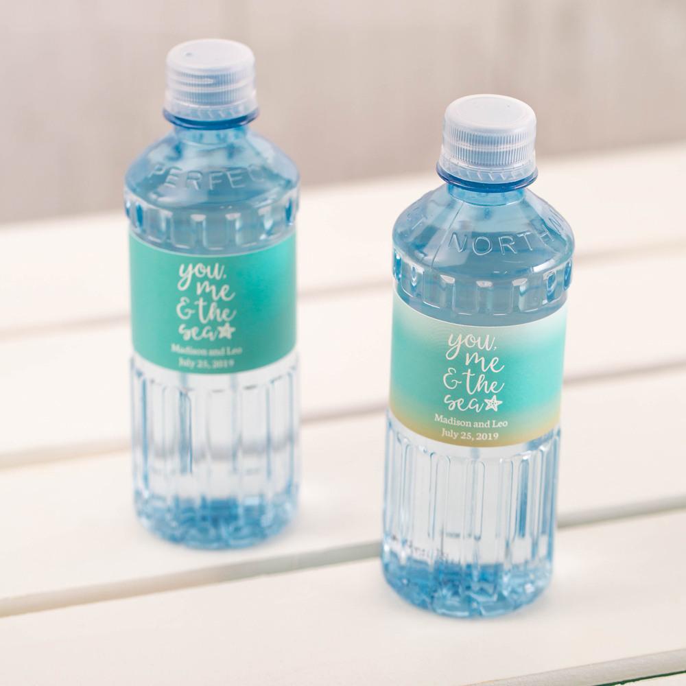 Custom You Me & the Sea Label Bottled Water - Wedding Designs