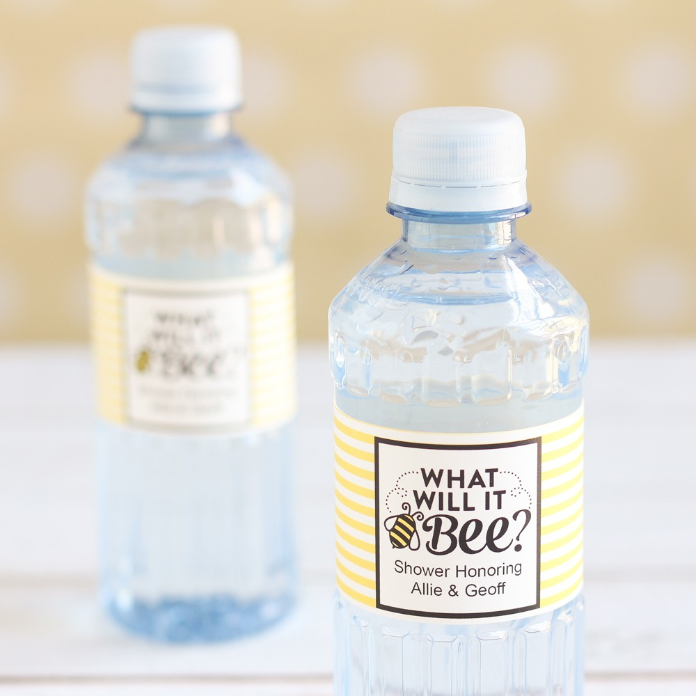 personalized bee reveal bottled water