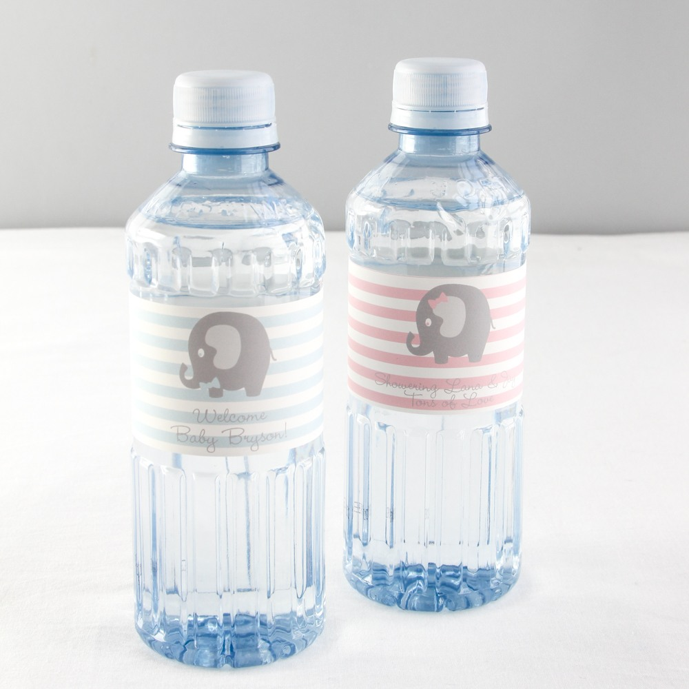 Personalized Elepahtn Baby Shower Bottled Water