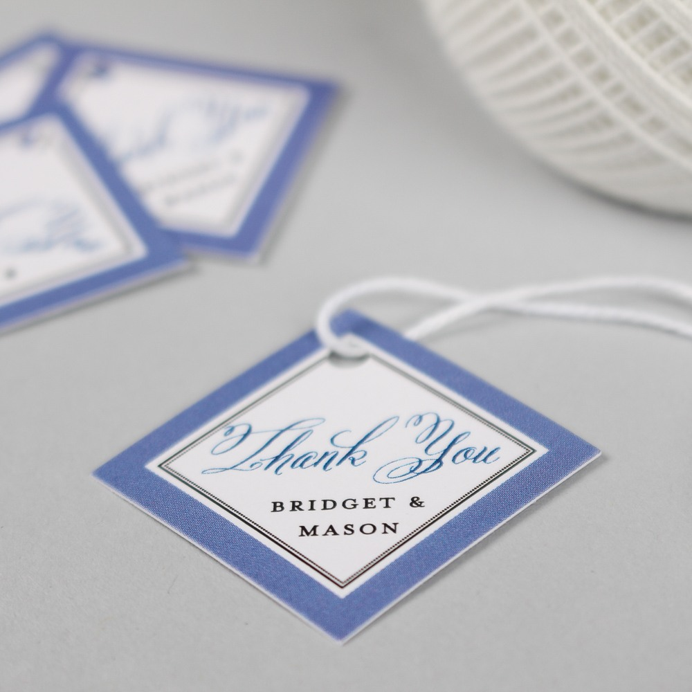 Personalized Blue Diamond Wedding Gift Tag