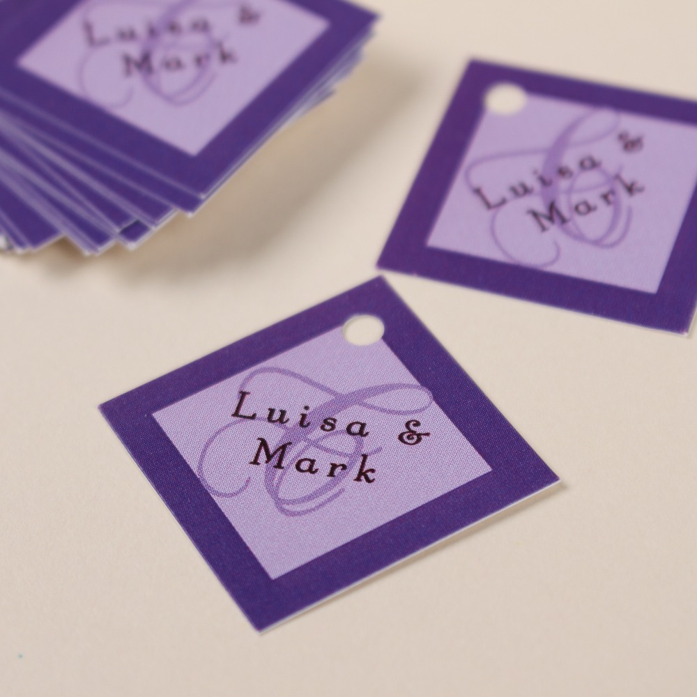 Personalized Purple Diamond Wedding Gift Tag