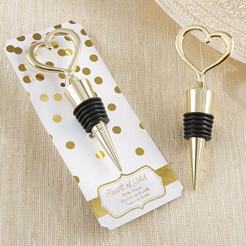 Open Heart Wine Bottle Stopper in Gold