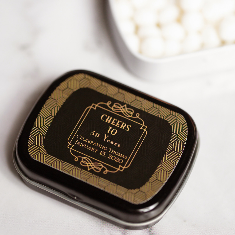 Personalized Vintage Cheers Birthday Mint Tins