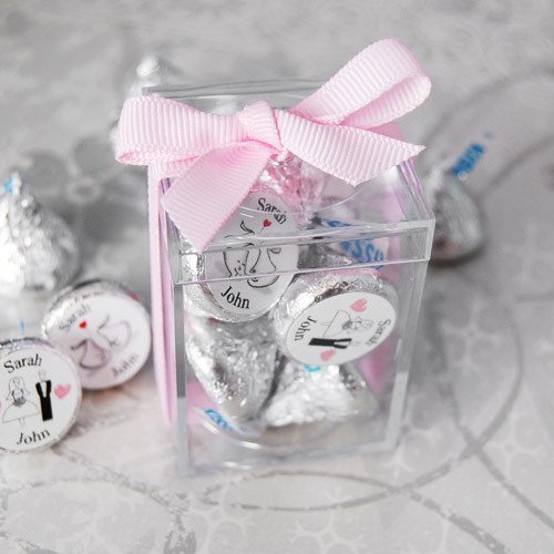 Mini Acrylic Favor Box with Personalized Wedding Hershey's Kisses