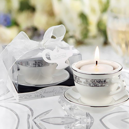Mini Teacup Tea Light Holder in Silver Accents