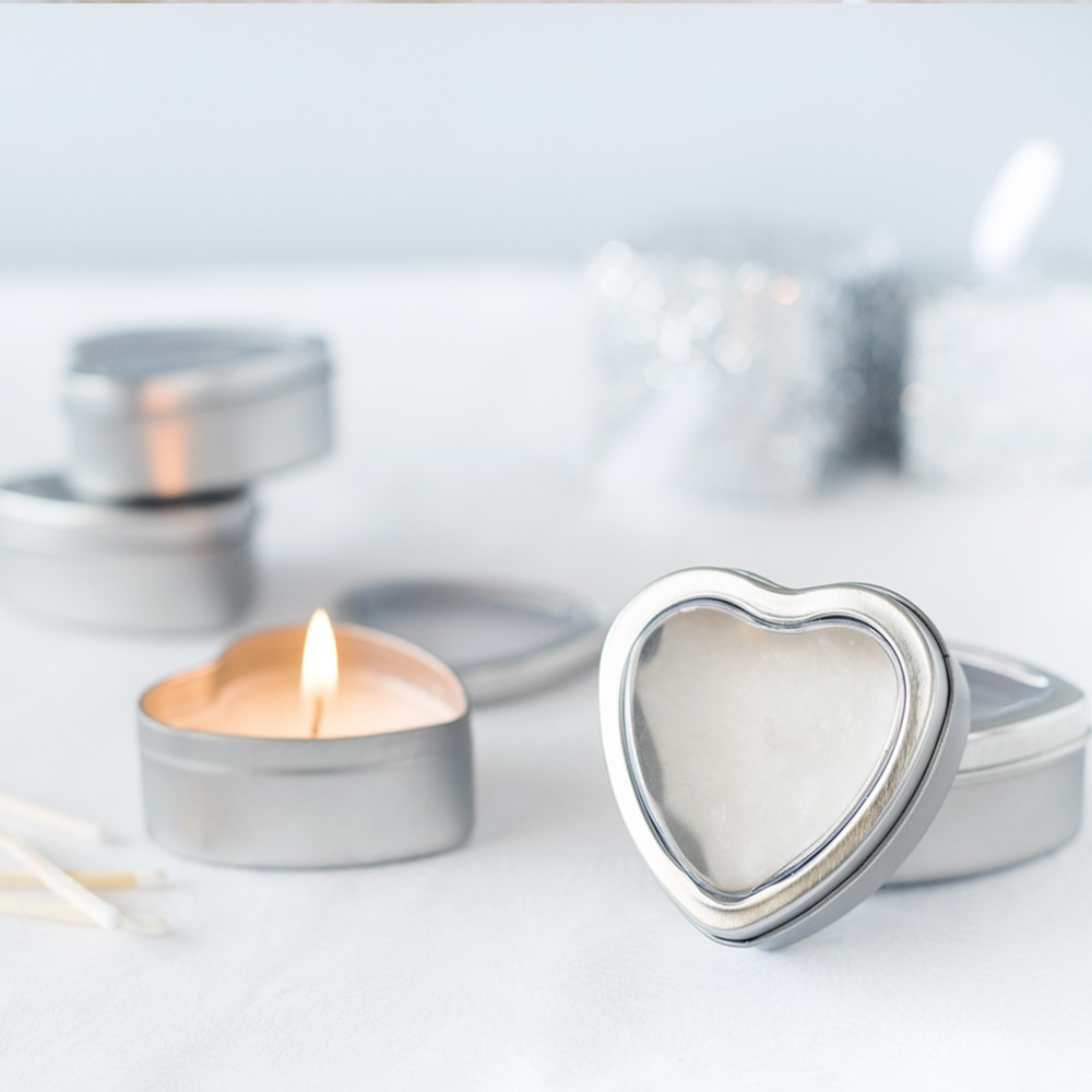 Mini Vanilla Heart Candle Tins 1856