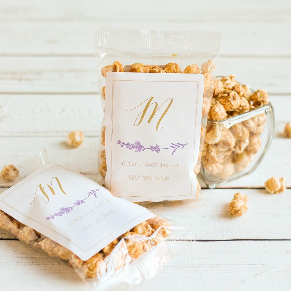 Personalized Lavender Sprig Caramel Corn
