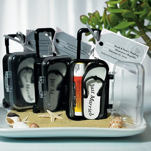 Mini Rolling Suitcase Favors with Personalized Tags