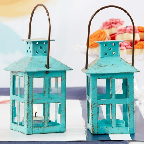 Mini Lantern Tealight Holder in Vintage Aqua