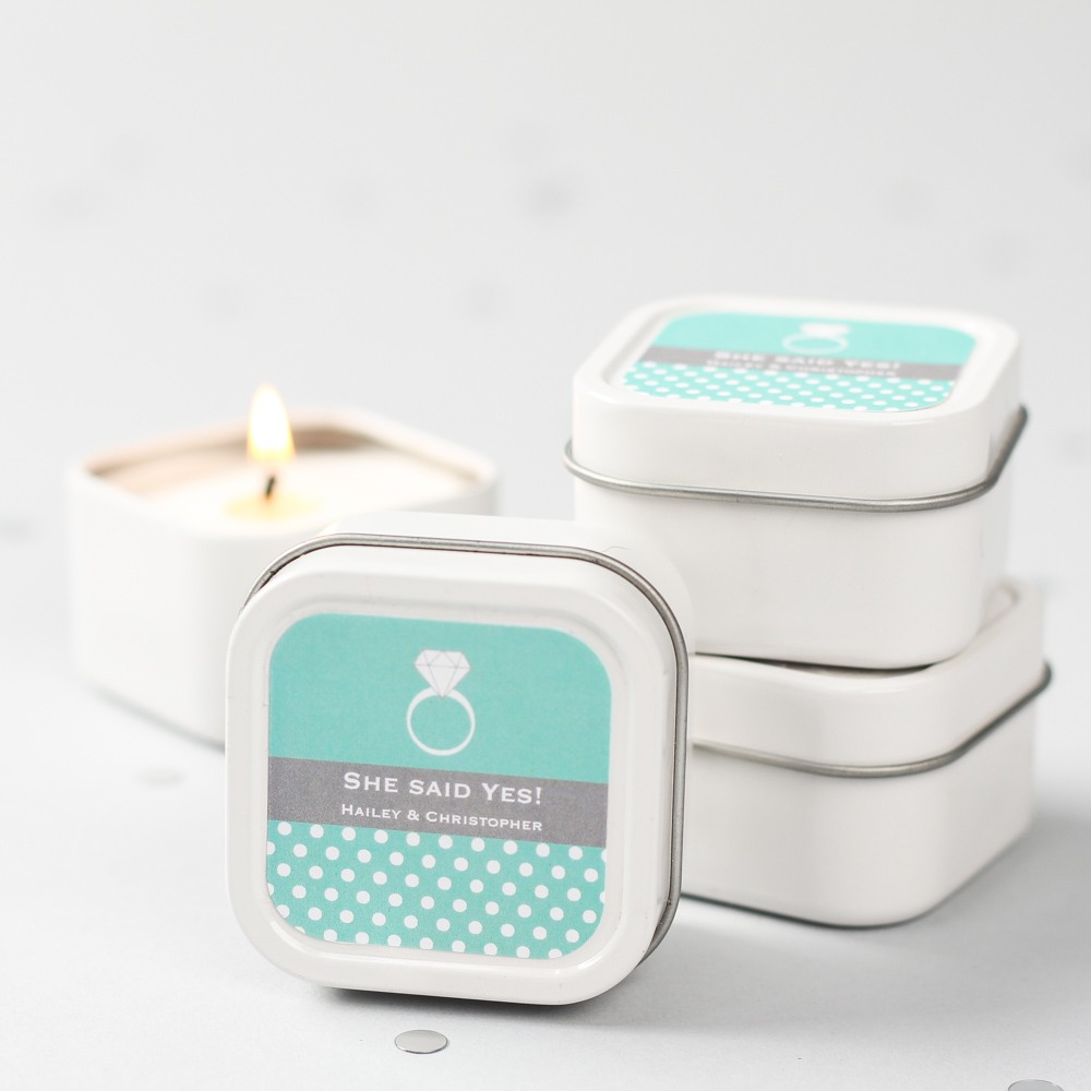 Mini Square Personalized Candle Wedding Favors 1982