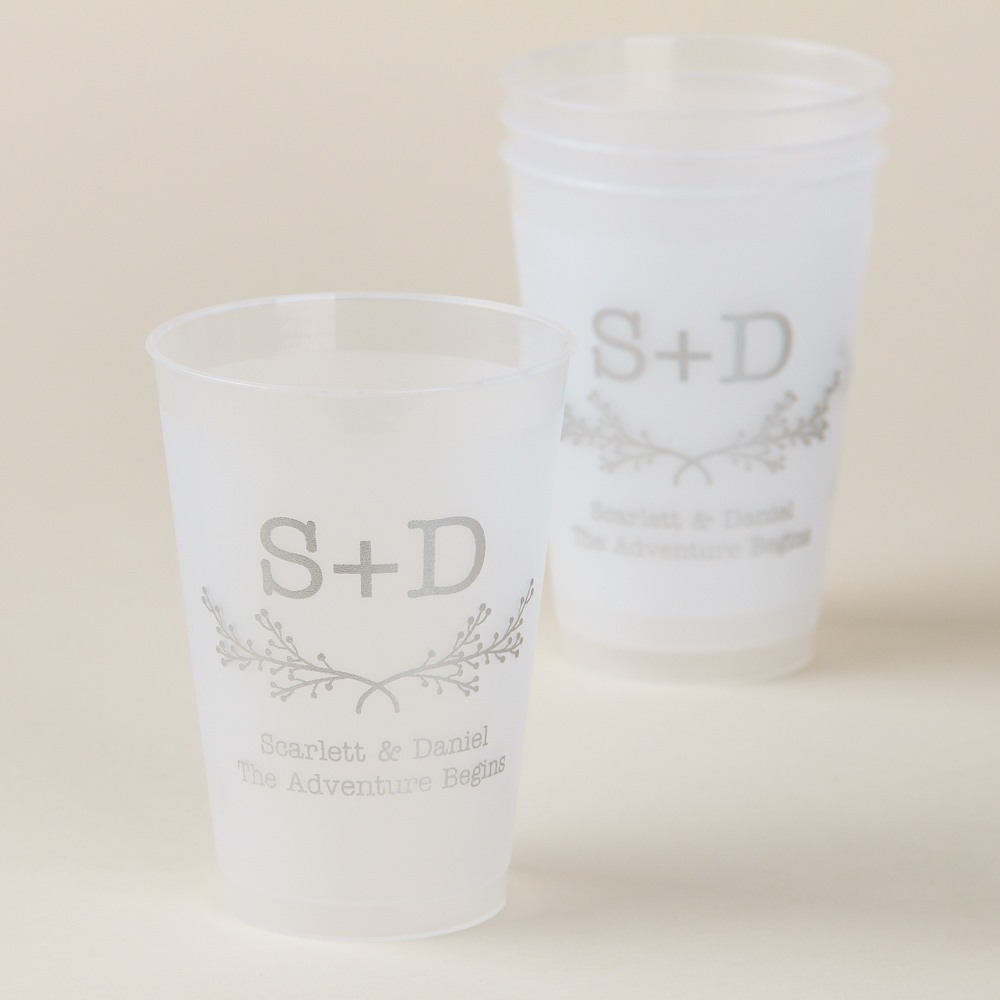 Monogram Frosted Plastic Cups