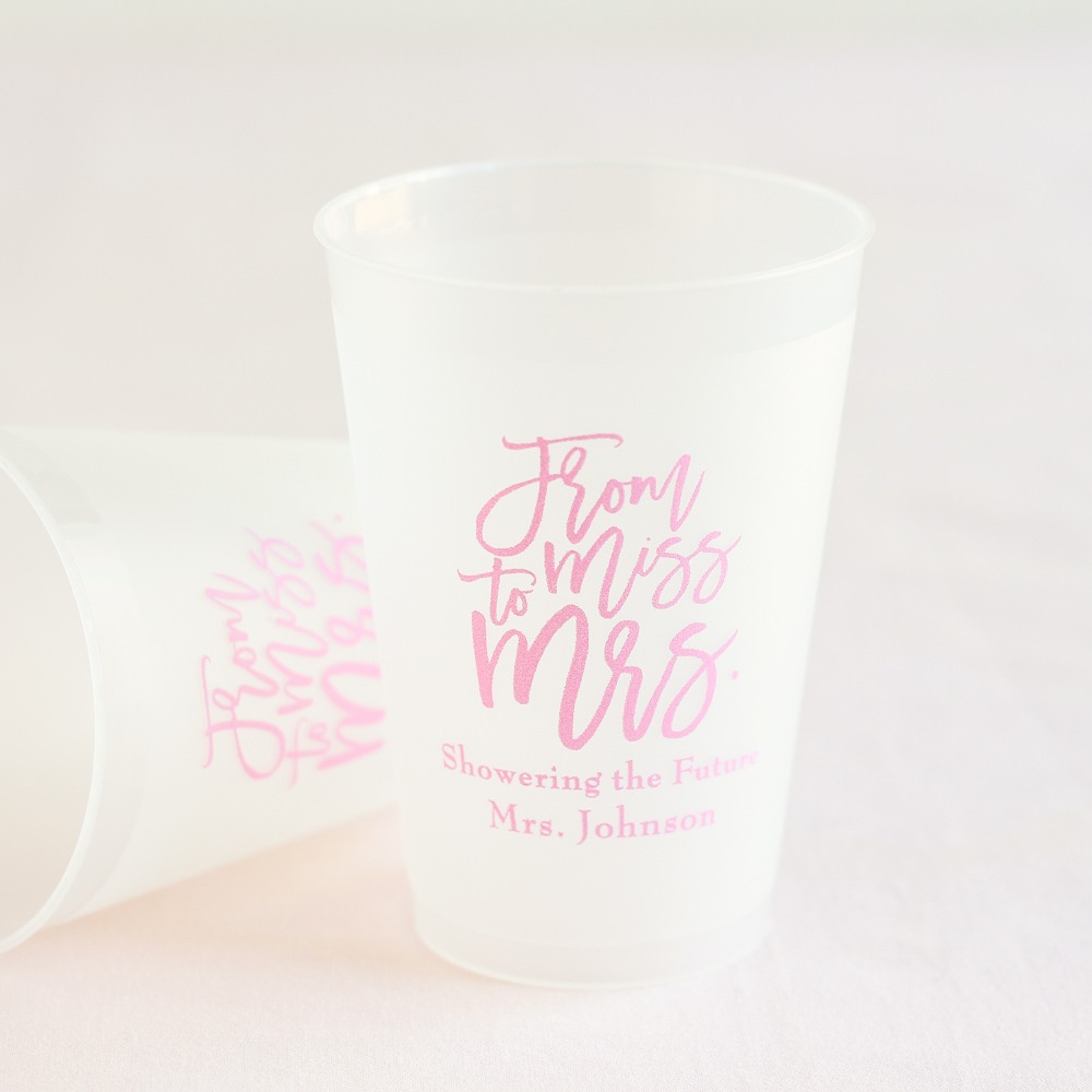 From Miss to Mrs Frosted Plastic Cups