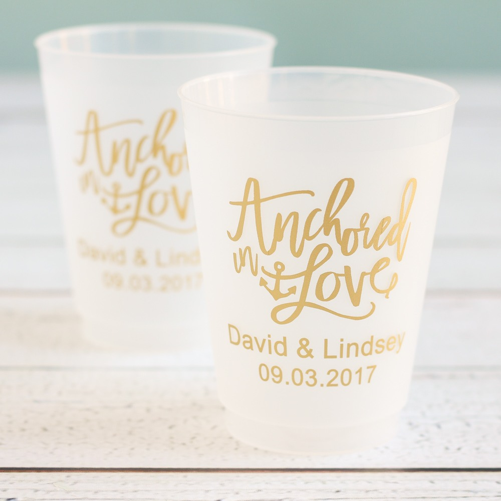 Personalized Anchored in Love Frosted Plastic Cups