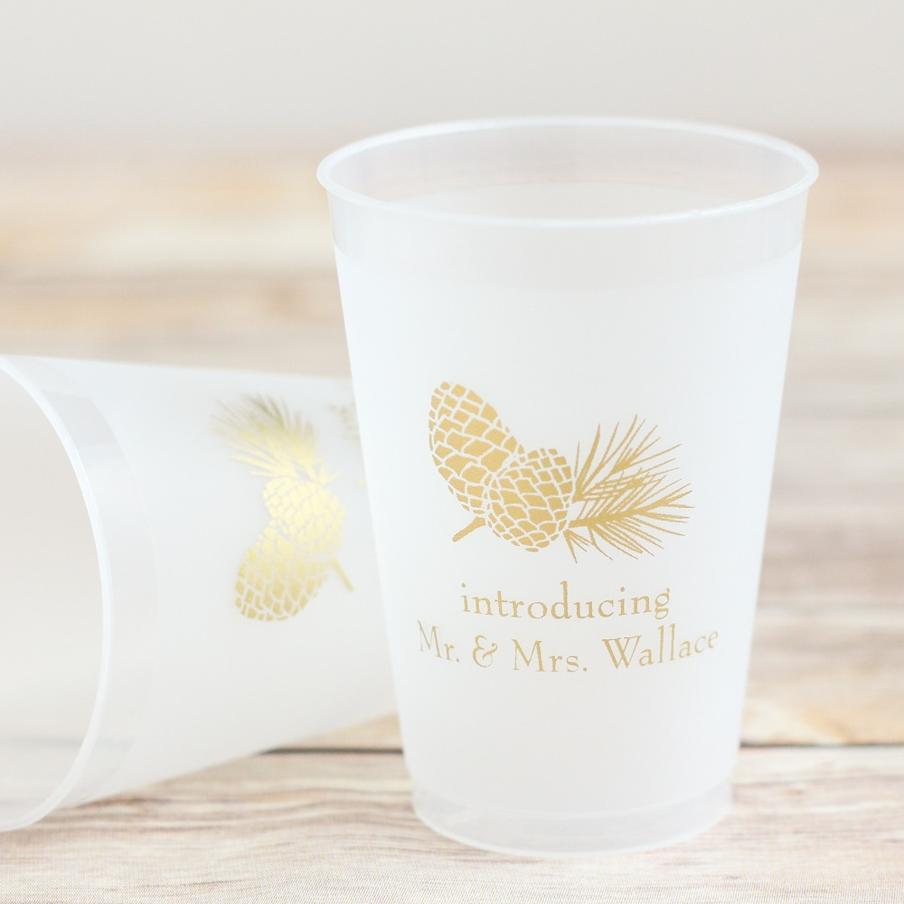 Personalized Pinecone Frosted Cups