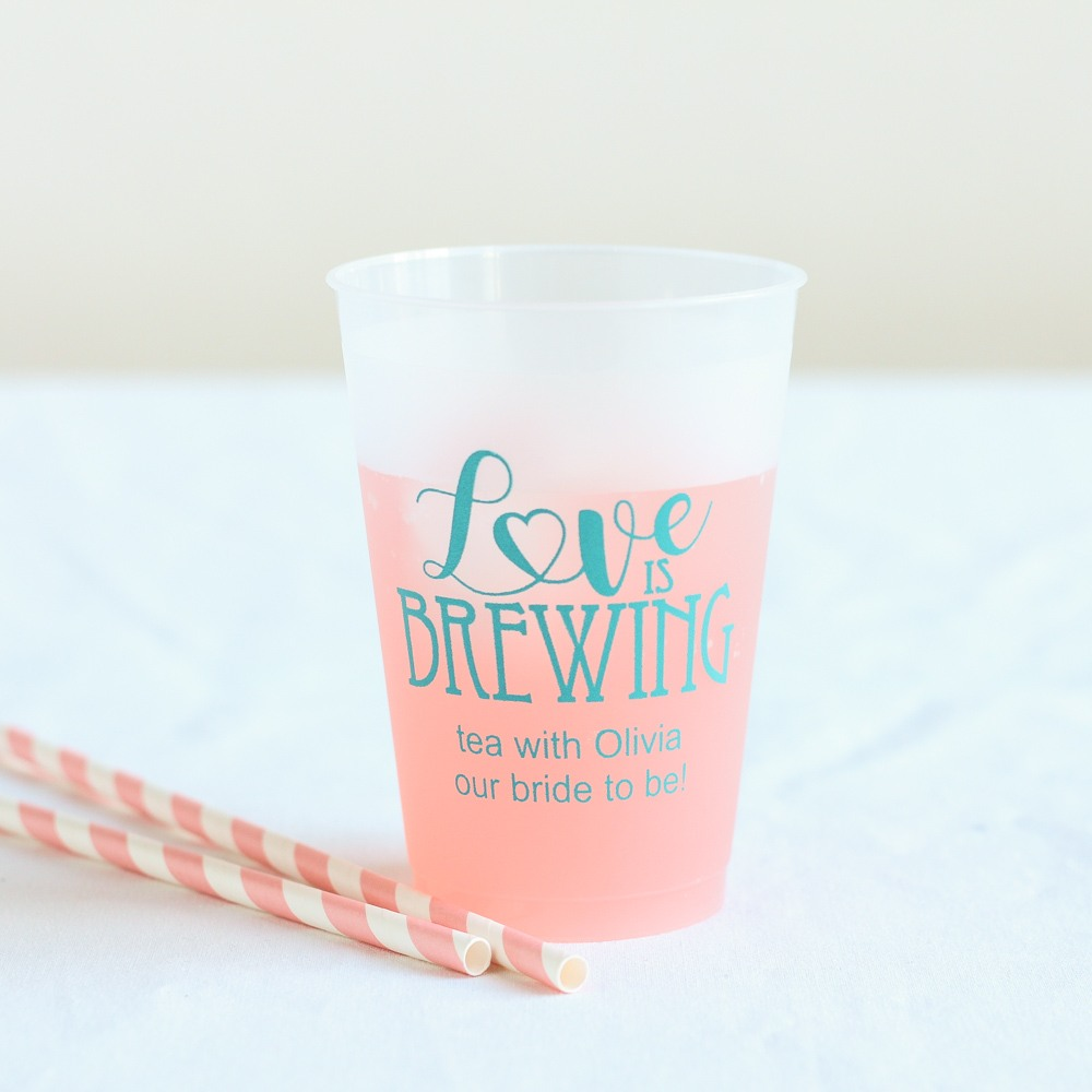 Personalized Love is Brewing Frosted Plastic Cups