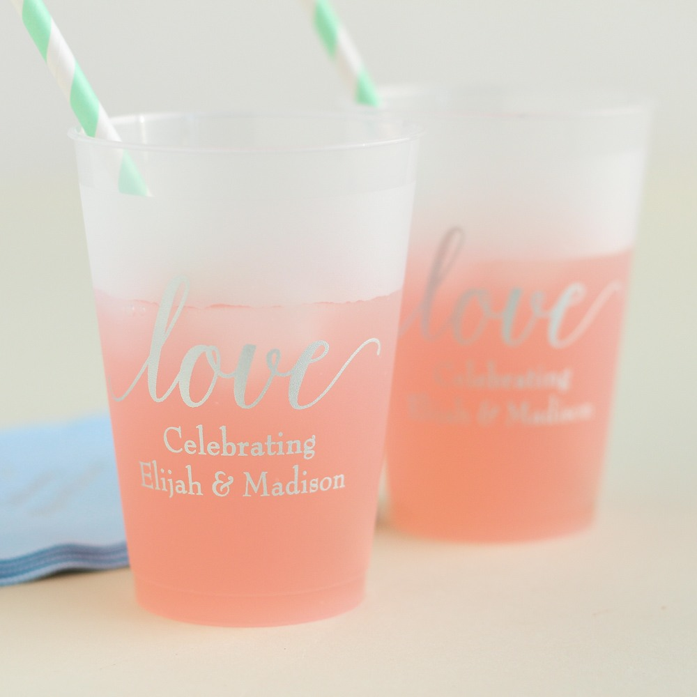 Personalized Love Frosted Plastic Cups