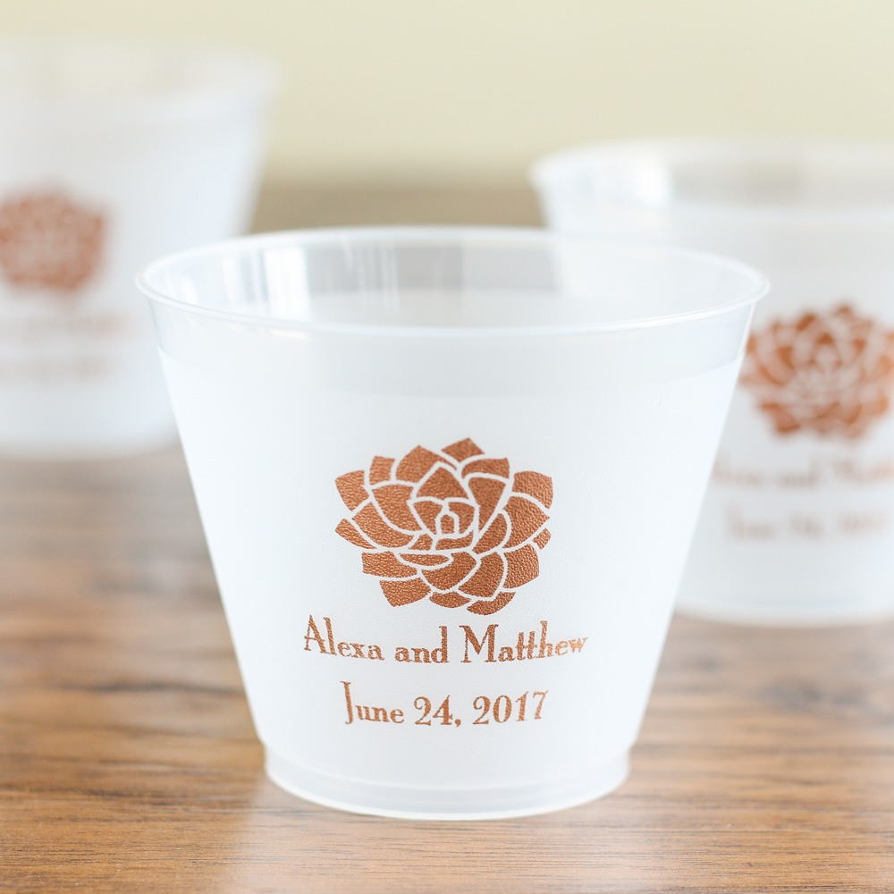 Personalized Succulent Frosted Plastic Cups
