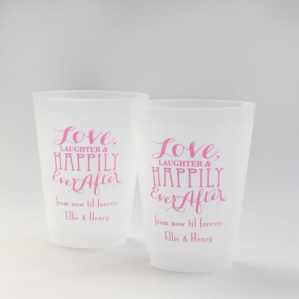 Personalized Love Laughter Frosted Plastic Cups