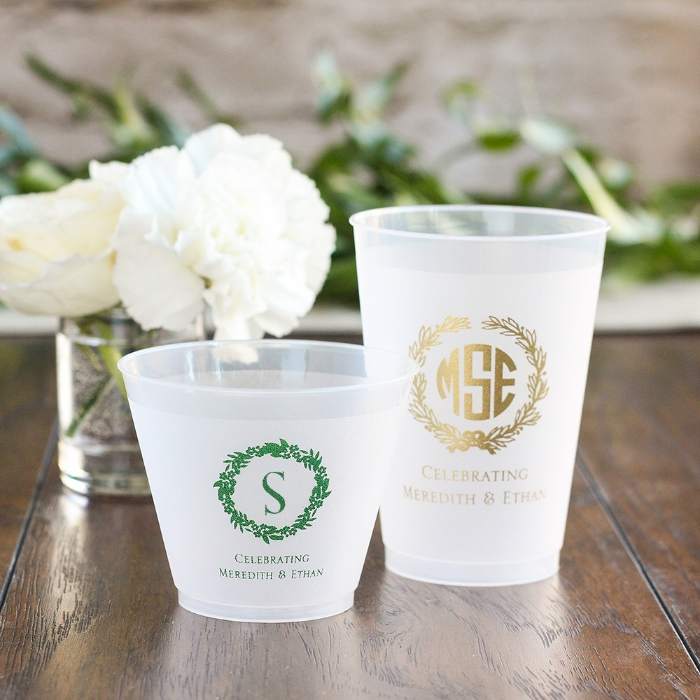 Personalized Wreath Frosted Cups