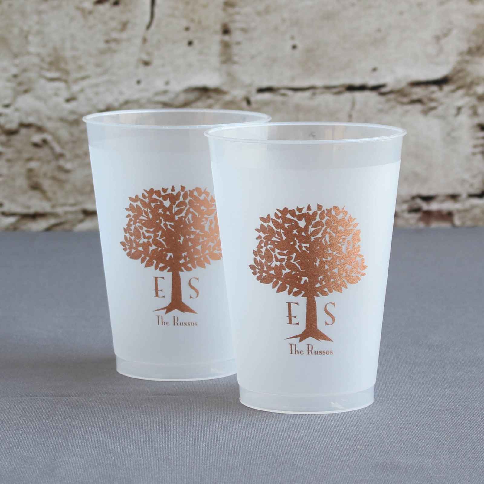 Personalized Wedding Tree Frosted Cups