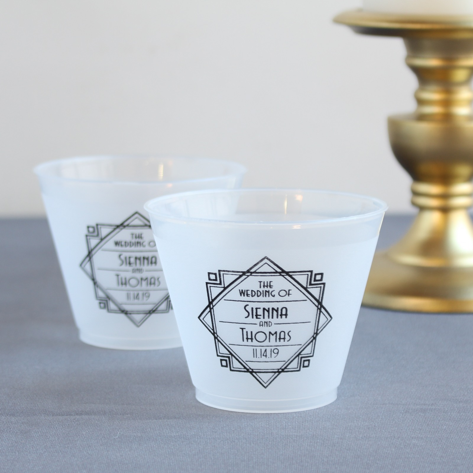 Personalized Modern Deco Frosted Cups
