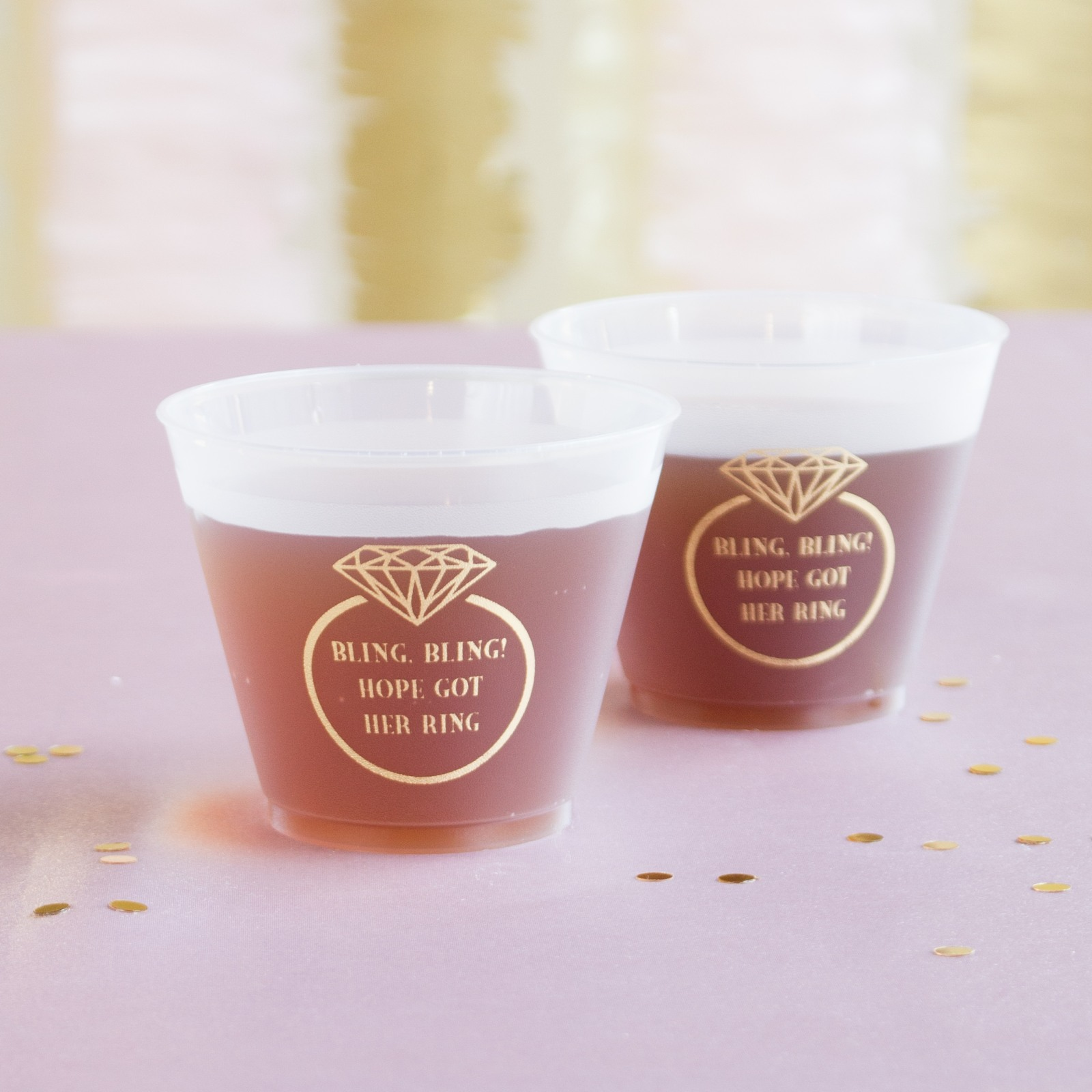 Personalized Ring Frosted Plastic Cups