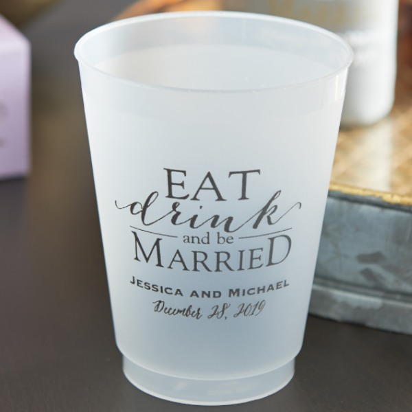 Personalized Frosted Plastic Cups - Eat Drink and Be Married