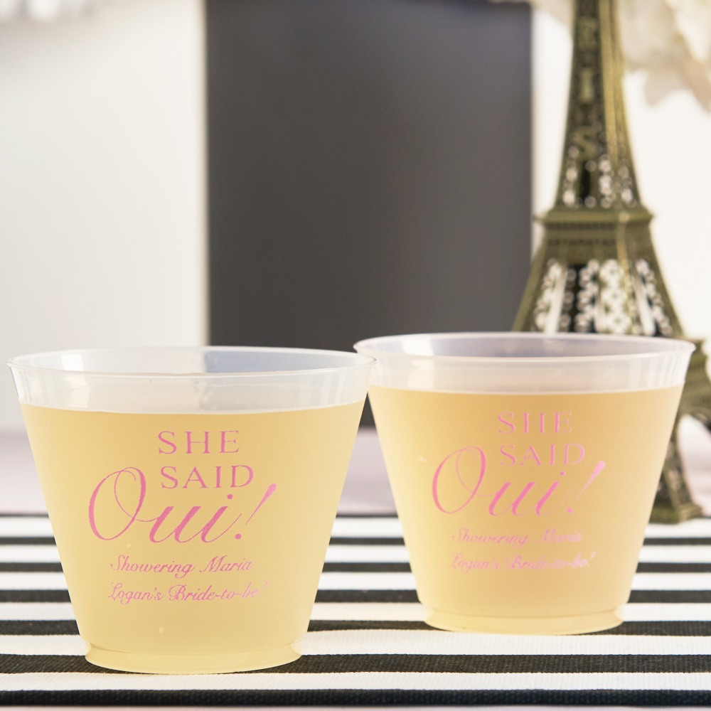 Personalized She Said Oui Frosted Plastic Cups