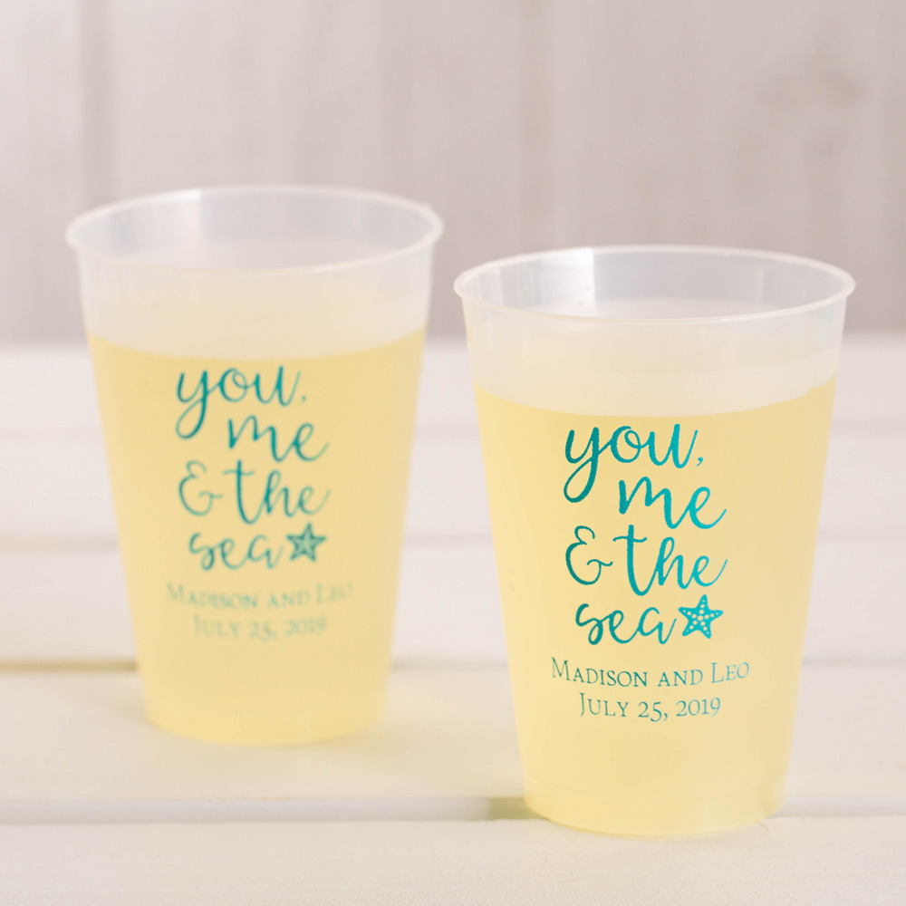 Personalized You Me & the Sea Frosted Plastic Cups