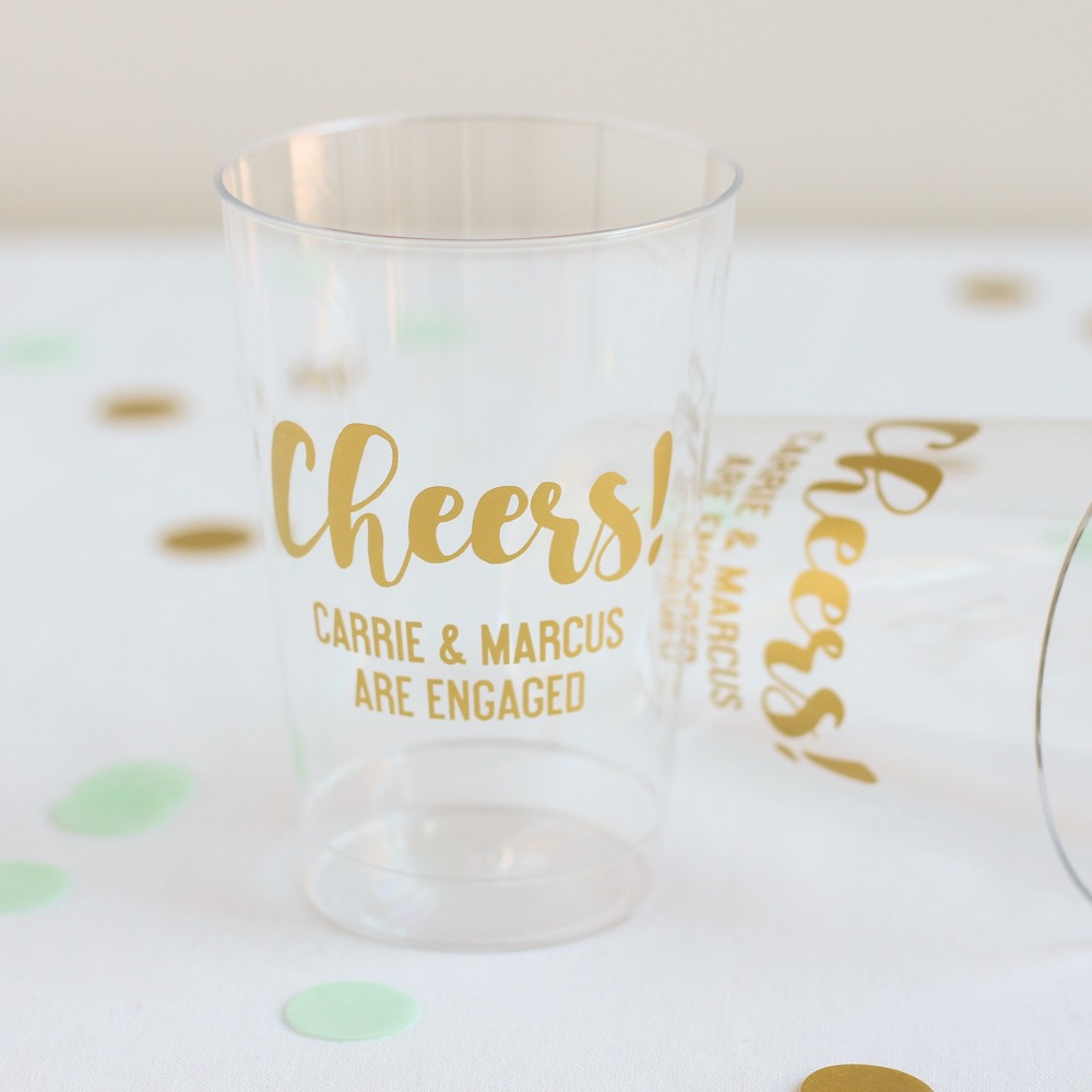 Personalized Cheers Clear Plastic Cups