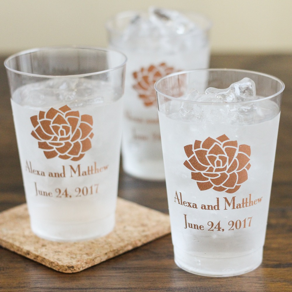 Personalized Succulent Clear Plastic Cups