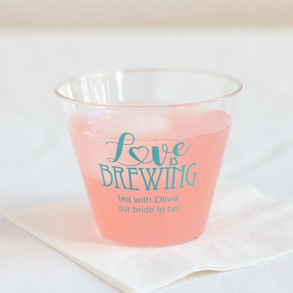 Personalized Love is Brewing Clear Plastic Cups