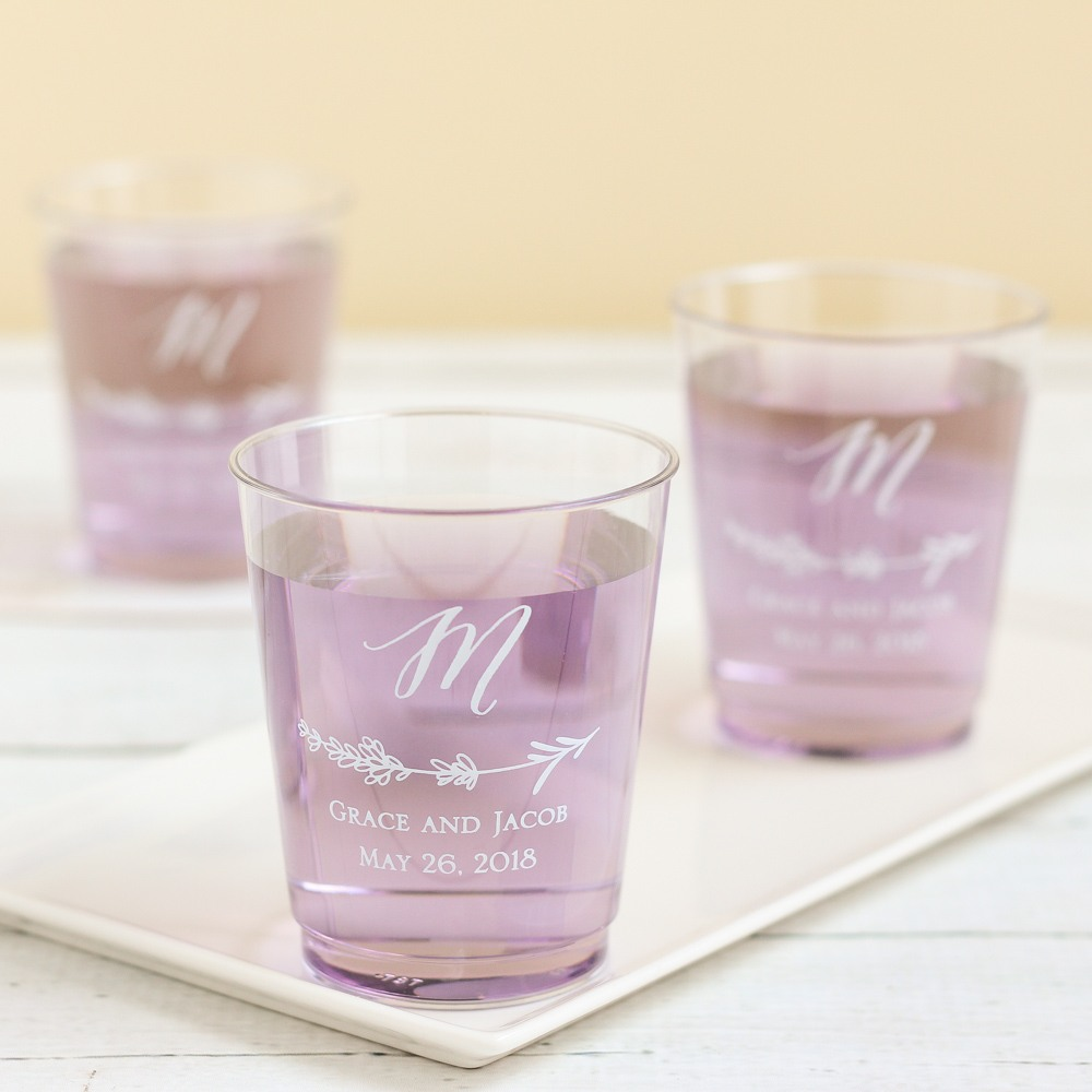Personalized Lavender Clear Plastic Cups