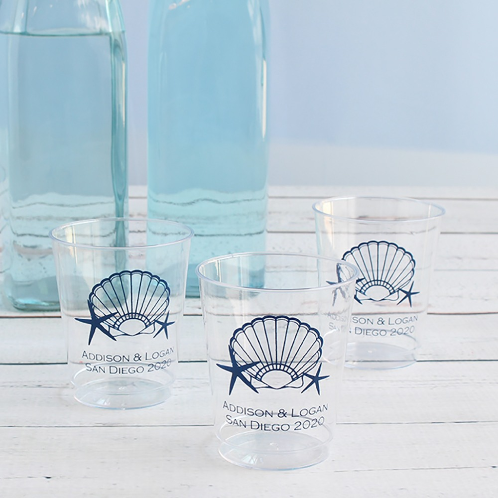 Personalized Seashell Plastic Cups