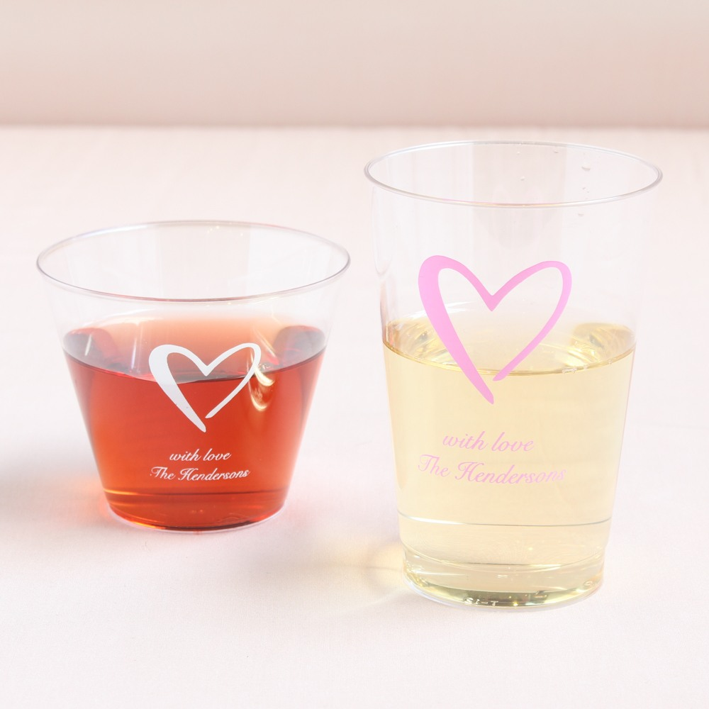Personalized Heart Clear Plastic Cups