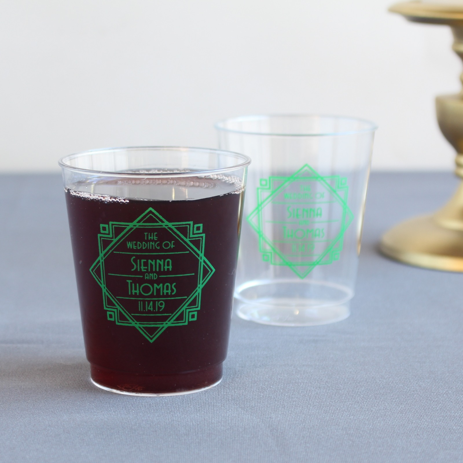 Personalized Modern Deco Clear Plastic Cups