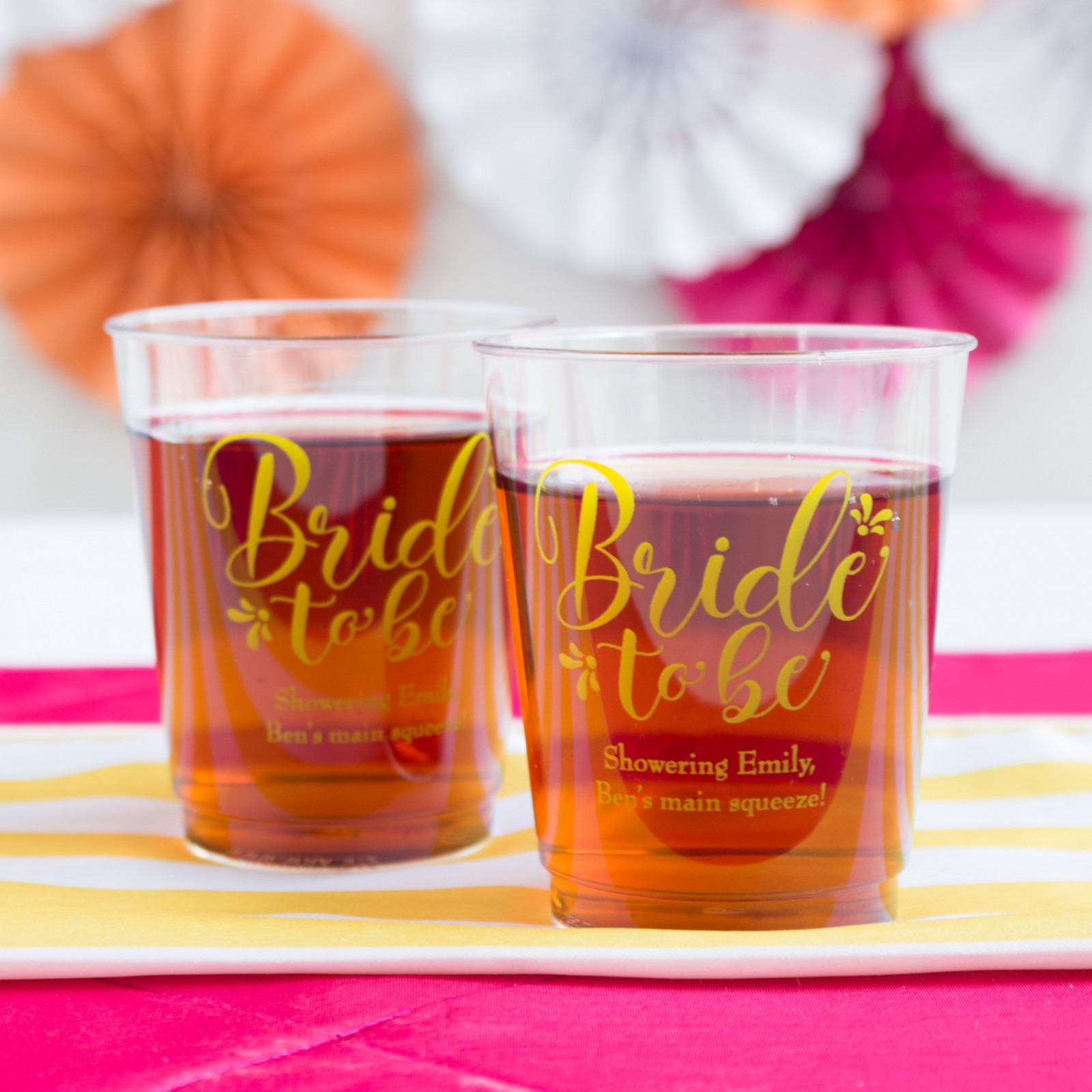 Personalized Bride to Be Clear Plastic Cups