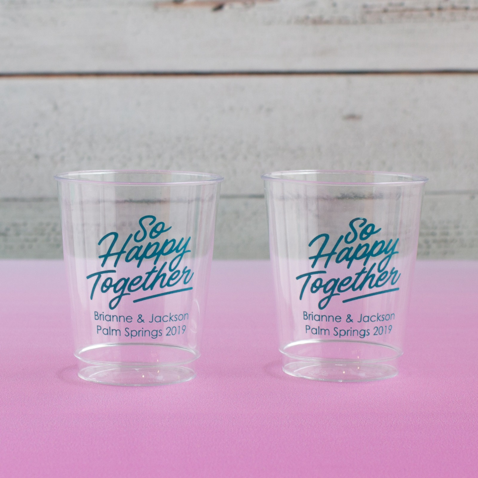 Personalized Happy Together Clear Plastic Cups