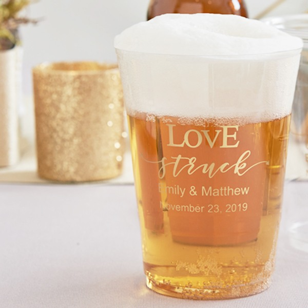 Personalized Love Struck Clear Plastic Cups