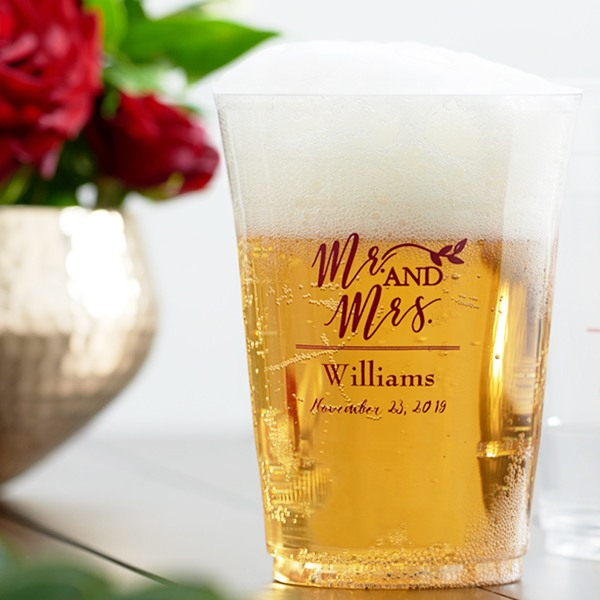 Personalized Mr. and Mrs. Clear Plastic Cups