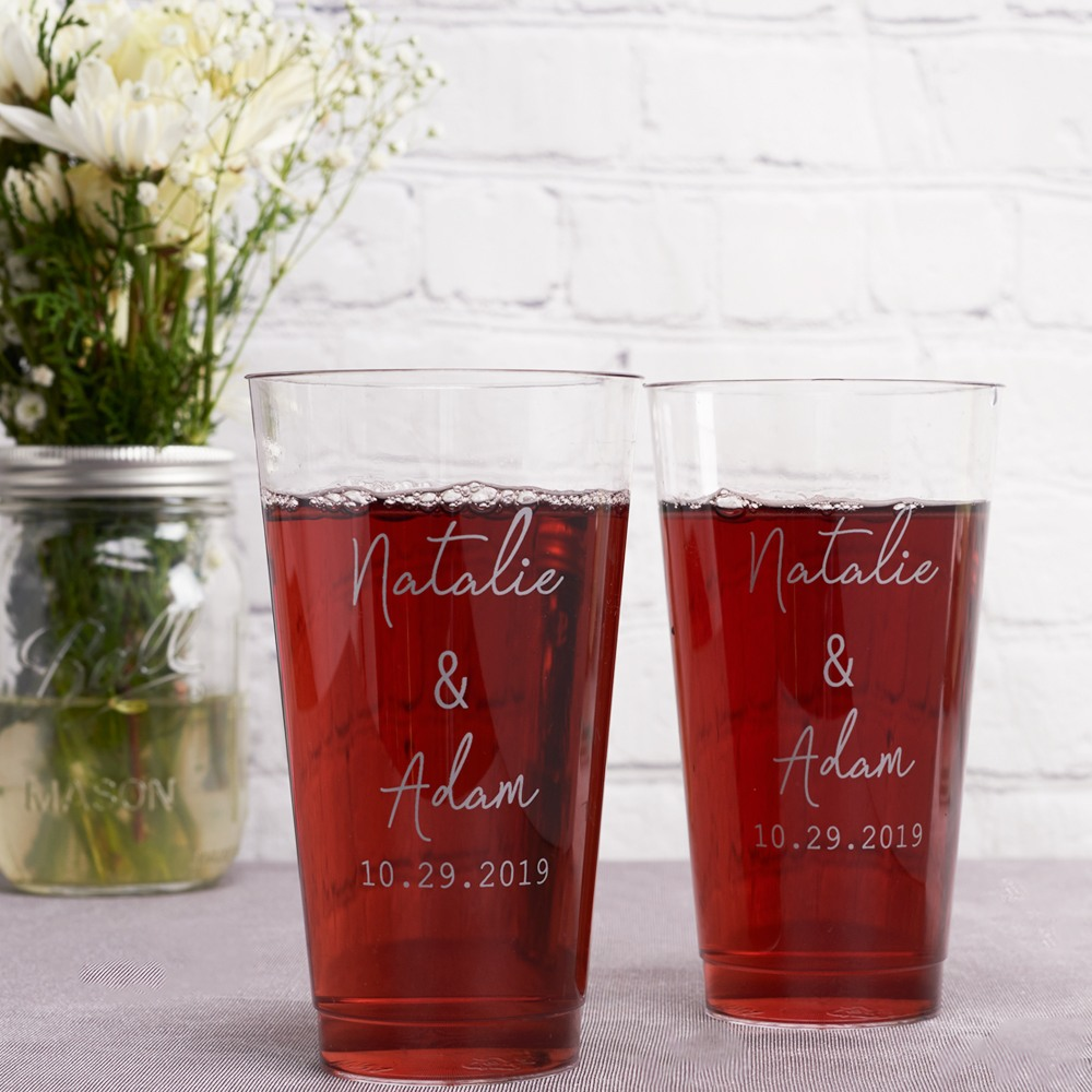 Personalized Industrial Script Clear Plastic Cups