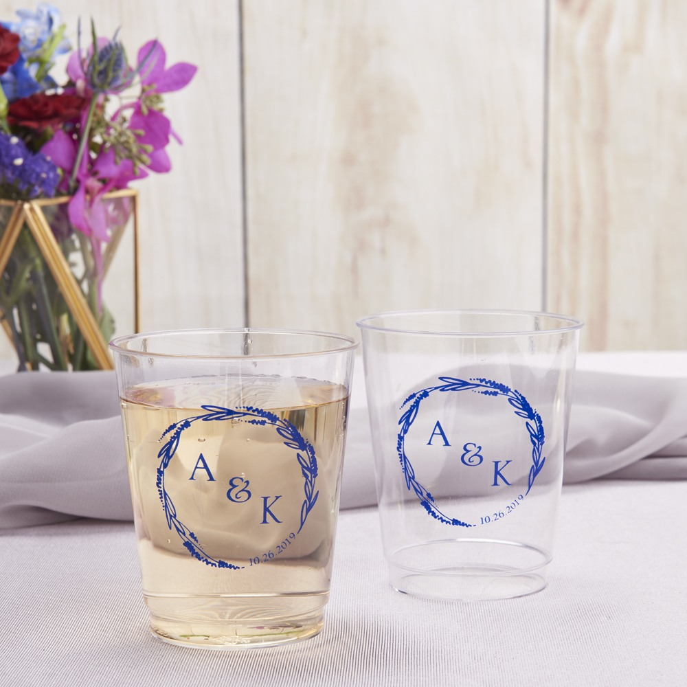 Personalized Modern Monogram Clear Plastic Cups