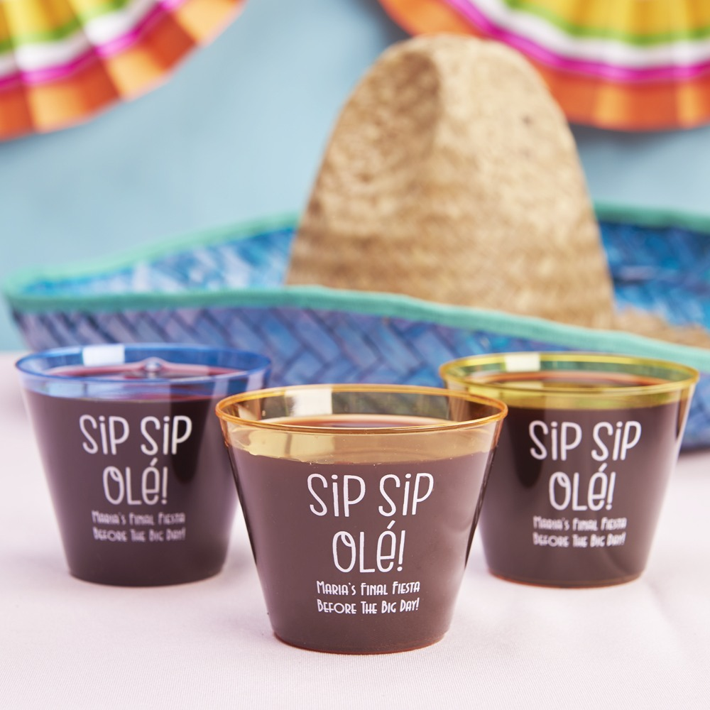 Personalized Sip Sip Ole Clear Plastic Cups