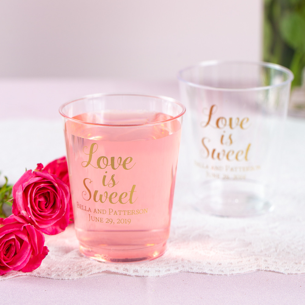 Personalized Love is Sweet Clear Plastic Cups