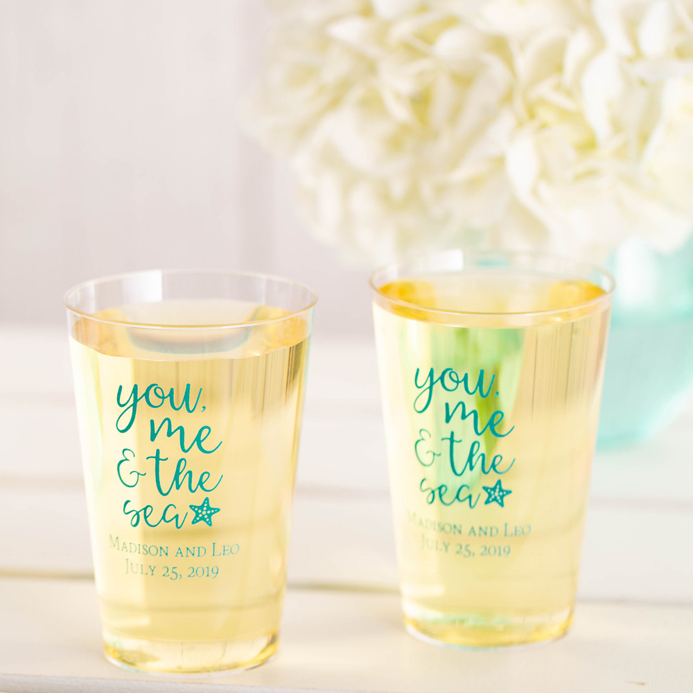 Personalized You Me & the Sea Clear Plastic Cups
