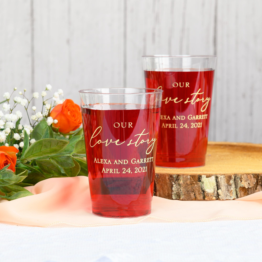 Personalized Our Love Story Clear Plastic Cups
